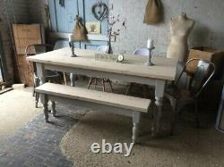 180 x 90cm Scandi greywash stonewash dining room table and bench and 5 chairs