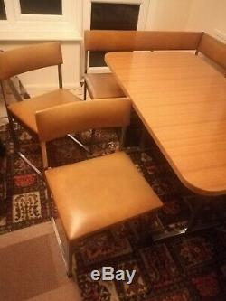 1970s Retro Corner Bench Dining Table And Chairs Tan/Orange vinyl leather
