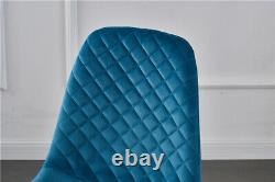 2/4/6 X Dining Chairs Set Velvet Padded Seat Metal Leg Kitchen Chair Home Office