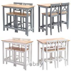 2 Seater High Breakfast Bar Table and 2x Stools Set Kitchen Dining Table Chairs