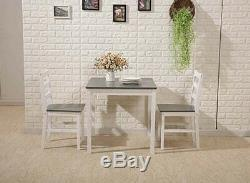2 Seater Kitchen Table And Chairs Set Grey Dining Breakfast Compact Space Saving