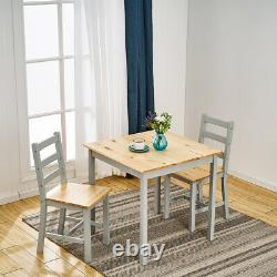 2 Seater Solid Wooden Grey Dining Table and 2 Chairs Set Kitchen Room Home Cafes