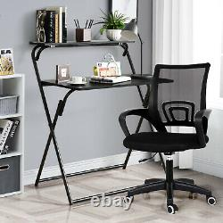2-Tier Folding Computer Desk Dining Table and Chair Set Home Office Study Black