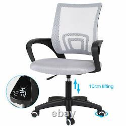 2-Tier Folding Computer Desk Study Writing Table and Mesh Office Chair Set Grey