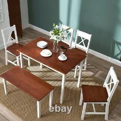 3 Colours Solid Wood Dining Table and Chairs Bench Set Kitchen Home Furniture