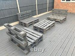 3 Grey Pallet Furniture Chairs Sofa and 1 Coffee Table Outdoor Patio Grey Garden