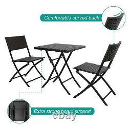 3 PCS Folding Bistro Set Garden Furniture Set Patio Rattan Table & 2 Chairs Set