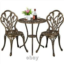 3 Piece Garden Furniture Set Patio Bistro Set Aluminum Dining Table and Chairs
