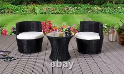 3 Piece Rattan Bistro Patio Garden Furniture Set Table & 2 Chairs