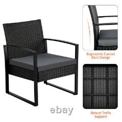 3 Piece Rattan Garden Furniture Set 2 Seater Patio Chairs and 1 Table Black