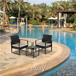 3 Piece Weaving Wicker Chairs and Table Garden Rattan Furniture Sets with Cushions