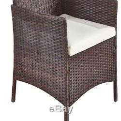 3 pcs Rattan Garden Furniture Outdoor Patio Chairs and Tempered Coffee Table