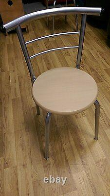3 piece Modern Dining Table and 2 Chairs Set Light Oak Metal Frame Kitchen