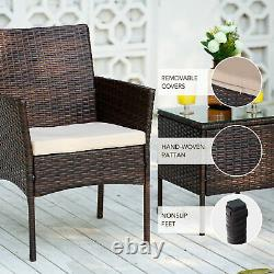 3pc Wicker Garden Furniture Set with 2 Chairs and Coffee Table Walnut and Beige