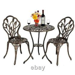 3pcs Bistro Set Outdoor/Indoor Garden Patio Dining Table and Chairs Set Bronze