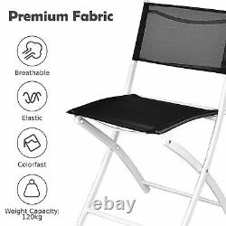 3pcs Patio Bistro Set Folding Table and Chair Set In/Outdoor Furniture With Table