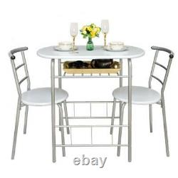 3pcs Set Table and Chairs 2 Seater Dining Kitchen Breakfast Set Small Compact