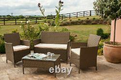 4PC Rattan Garden Patio Furniture Set 2 Chairs 1 Sofa & Coffee Table