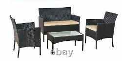 4 PCs Rattan Garden Furniture Set With Chairs and Table in Black/ Brown/ Grey
