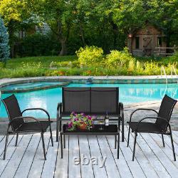 4 Piece Garden Furniture Bistro Set Patio Conversation Table Chair Set Poolside