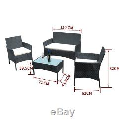 4 Piece Outdoor Rattan Garden Furniture Conservatory Sofa Set Table and Chairs