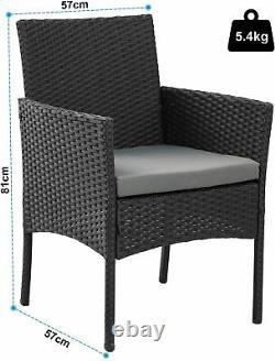 4 Piece Rattan Effect Outdoor Garden Patio Furniture Set Sofa + Table + 2 Chairs