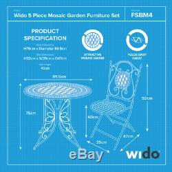 4 SEATER OUTDOOR PATIO SET MOSAIC DESIGN GARDEN FOLDING TABLE AND CHAIRS Wido
