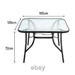 4 Seater Garden Table & Chairs Patio Set Outdoor Dining Glass Table and 4 Chairs