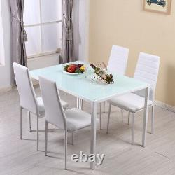 4 Seater Glass Dining Table and 4 Padded Chairs Set White Home Furniture New