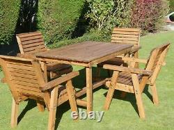 4 Wooden Seat Chairs + 4 Seater Garden Wood Table Set Large Outdoor Furniture