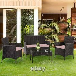 4pc Garden Rattan Black Furniture Set Patio Glass Table Chair Sofa Relax Outdoor