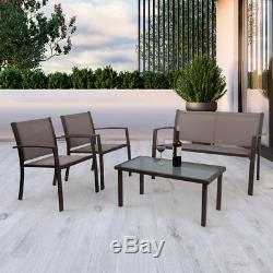 4pcs Garden Furniture Set Glass Table and Chairs Patio Corner Lounge Outdoor New