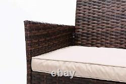 4pcs Rattan Outdoor Garden Furniture Sofa Set Table & Chairs (Roger Brown)