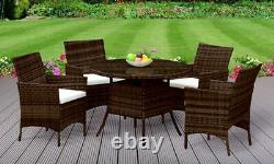 5PC Rattan Dining Set Garden Patio Furniture 4 Chairs & Round Table