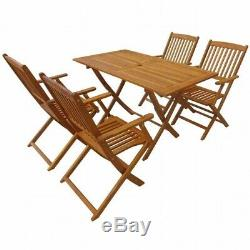 5/7Pcs Outdoor Garden Dining Set Table&Chair Wooden Folding Patio Furniture Chic