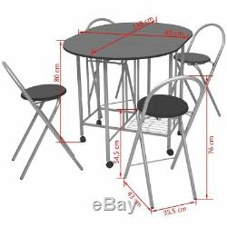 5 PCS Dining Set Port Table and 4 Chairs Kitchen Breakfast Patio MDF Oak/Black