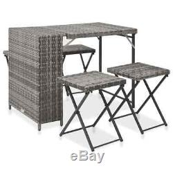 5 Piece Folding Outdoor Dining Set Poly Rattan Grey Table and Chairs Furniture