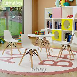 60cm Kids Children Table and 2/4 Chairs Set Plastic Wood Legs Toddler for 3+ Age
