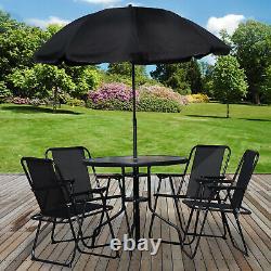 6PC Garden Patio Furniture Set Outdoor Black 4 Seat Round Table Chairs & Parasol