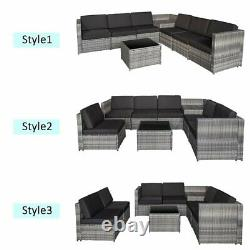 6 Seater Black Rattan Garden Furniture Set with Table, Storage and Cushions