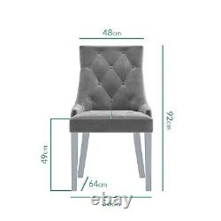 6 Seater Dining Set with White Mirrored Table 4 Grey Velvet Chairs and 1 Bench