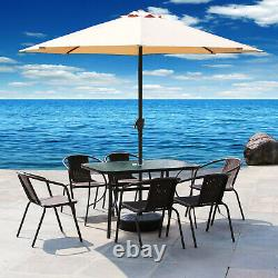 6 Seater Patio Furniture Set Garden Glass Parasol Table and 6 Stacking Chairs UK