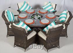 6 seater garden Ice Bucket dining table and chairs round rattan set Arizona