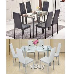 7 Pieces Dining Table Glass Table And 6 Chairs Faux Leather Dinning Set, 2 Color