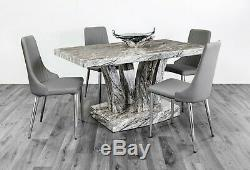 7star Grey Dining Table set 4-6 Chairs and Matching Coffee & TV Unit Available