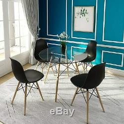 80 Round Dining Table And 4 Chairs Set Kitchen Dining Room Wooden & Glass Lounge