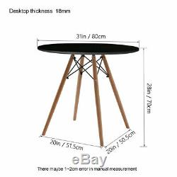 80cm Dining Round Table And 4 Chairs Set Padded Patchwork Fabric Office Home