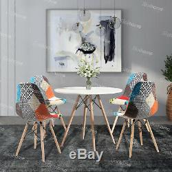 80cm Dining Round Table And 4 Chairs Set Padded Patchwork Fabric Office White