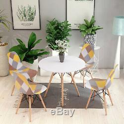 80cm Dining Round Table and 4 Chairs Set Padded Patchwork Fabric Wooden Office