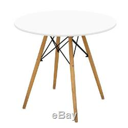 80cm Round Dining Table White And 4 Padded Tuilp Chairs Grey Set Kitchen Cafe UK